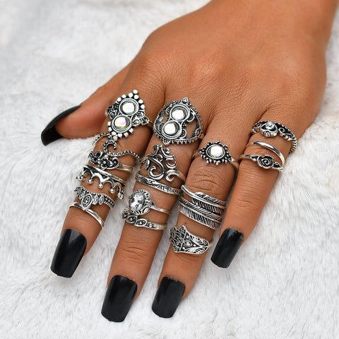 Boho Vintage Flower Leaf Crown Knuckle Ring Set