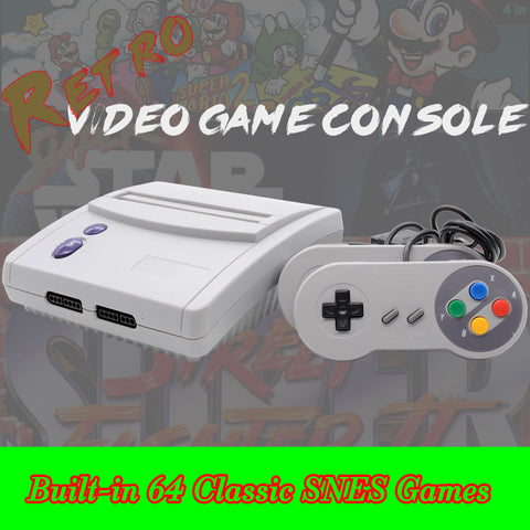 64 built in  S N E S games . Plays S N E S cartridges as well. List of games below