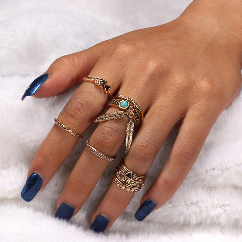 Boho Feather Ring Set