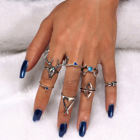 Boho Antique Silver Deer Ring Set