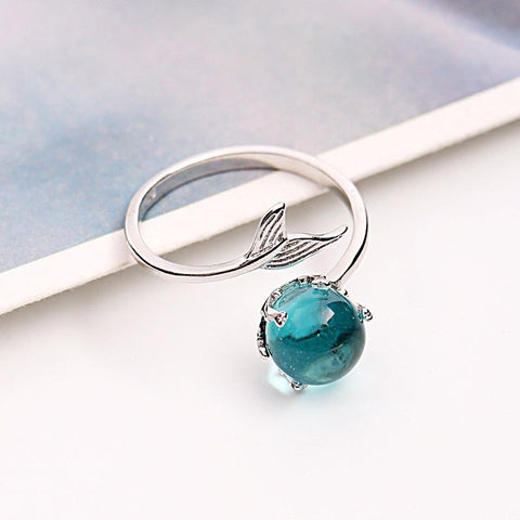 MERMAID CRYSTAL BUBBLE 925 STERLING SILVER RING ADJUSTABLE TO ANY SIZE