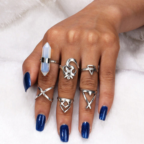 Boho Tiny Crystal Ring Set