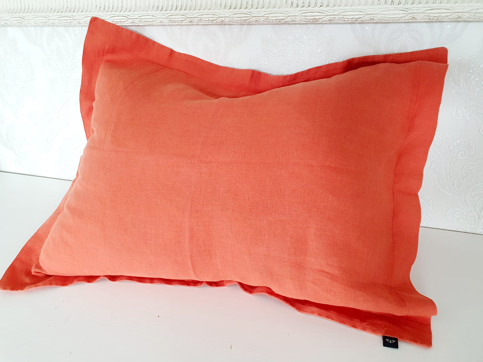 "Flax pillow cover ""Red Curry"""
