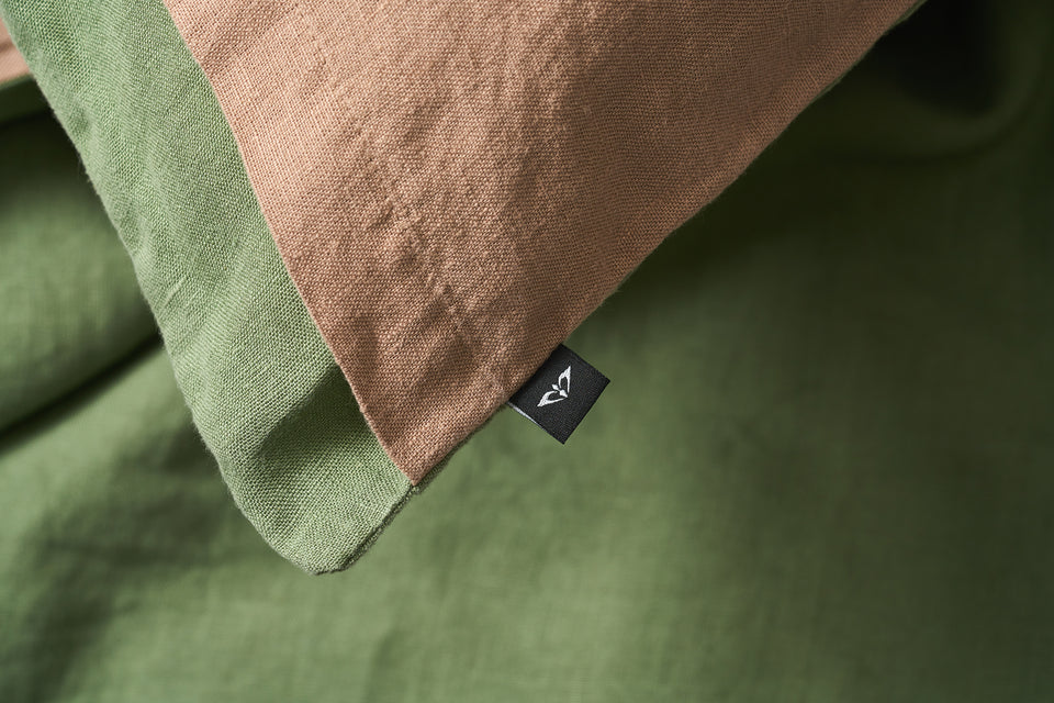 "Flax Bedding Set ""Green/Brown"""