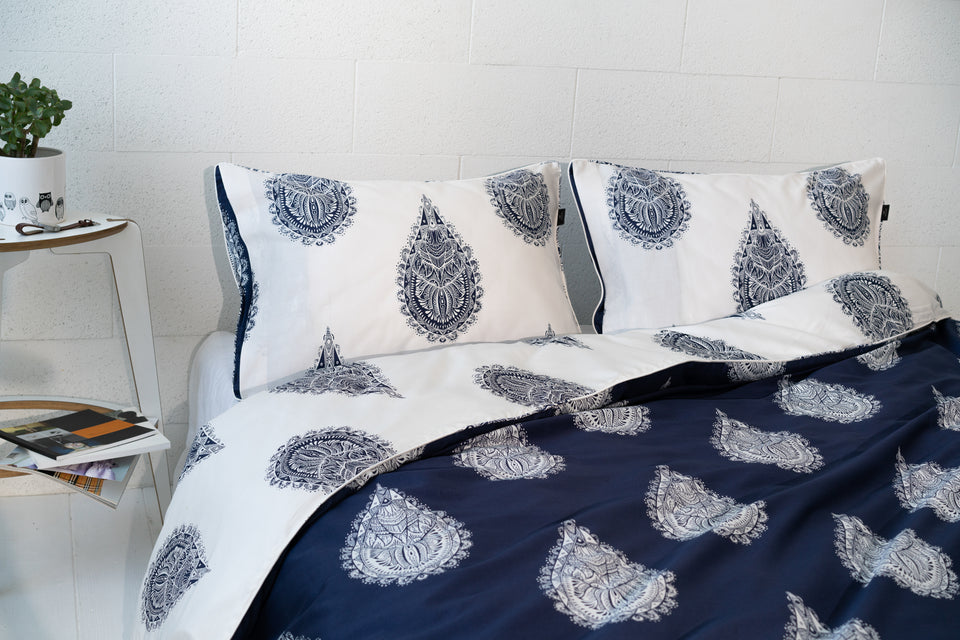 "Bedding Set ""Mandala Of Drops Blue / White"" 210x230 cm"