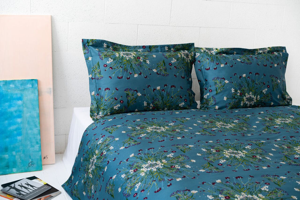 "Bedding Set ""Crown Of Flower Green Blue"""