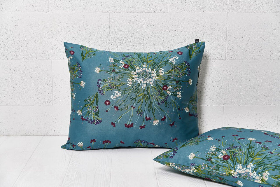 "Pillow cover ""Crown Of Flower Green Blue"""