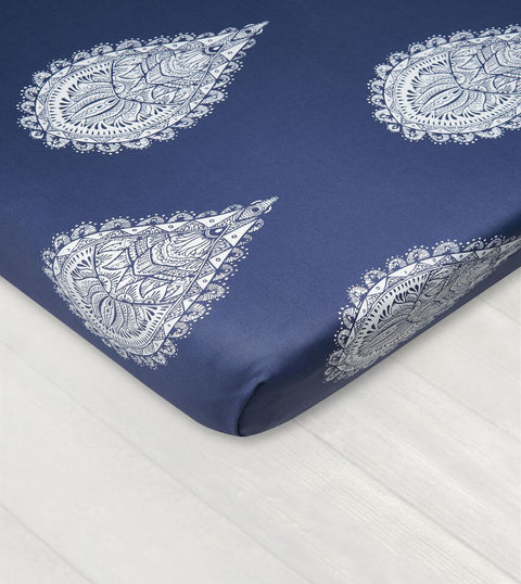 Bedsheet With Rubber - Mandala Of Drops White