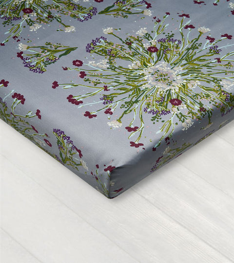 Bedsheet With Rubber - Crown Of Flower Grey