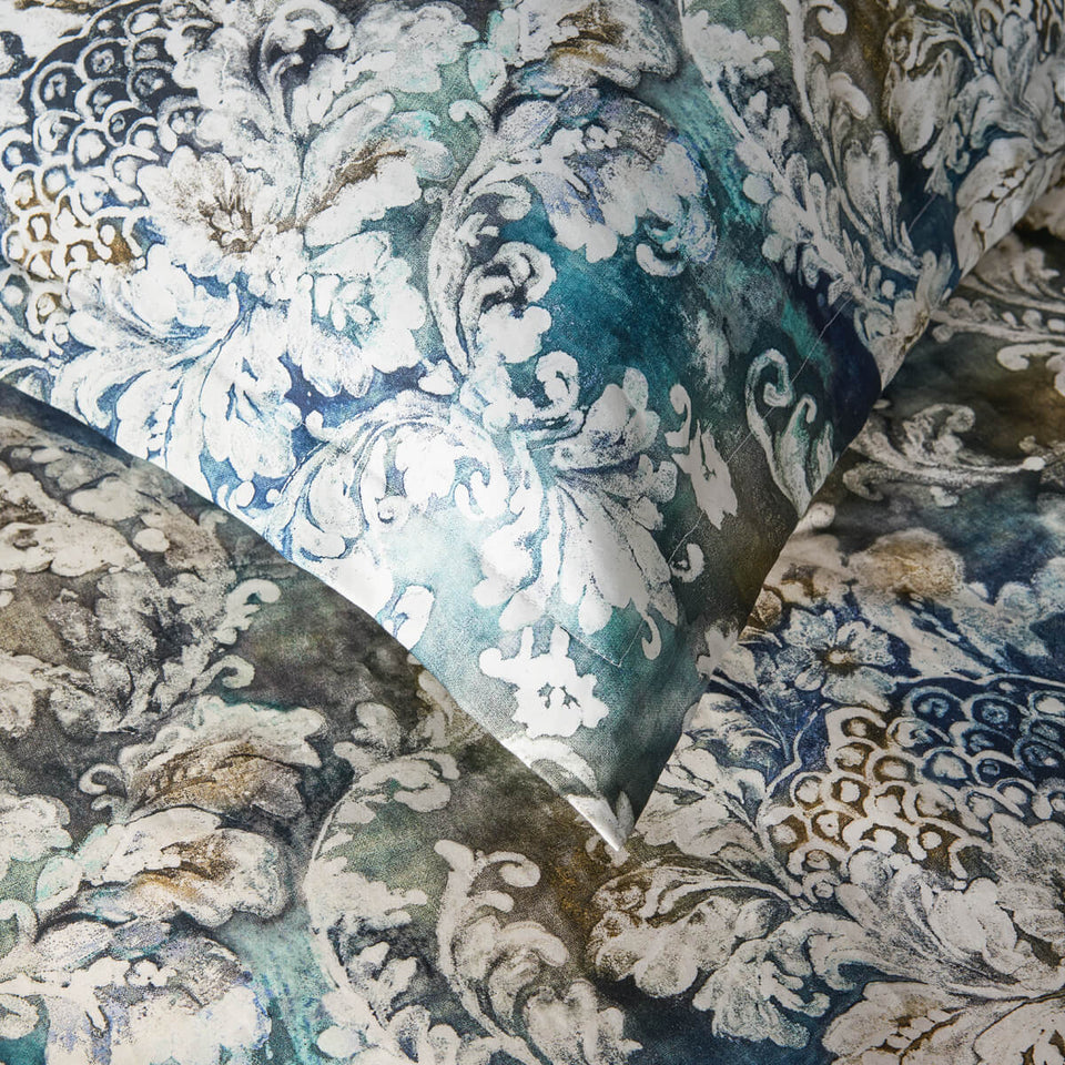 "Premium sateen bed set ""Damask of waves"" - Dreamon"
