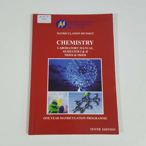 Chemistry: Laboratory Manual Semester I & II (One Year Matriculation Programme)
