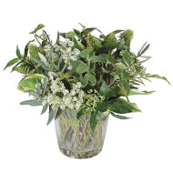 Faux Mixed Foliage in Glass Vase