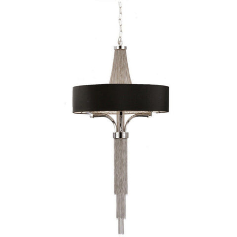 Libra Metal Pendant Light In Nickel Finish With Round Shade