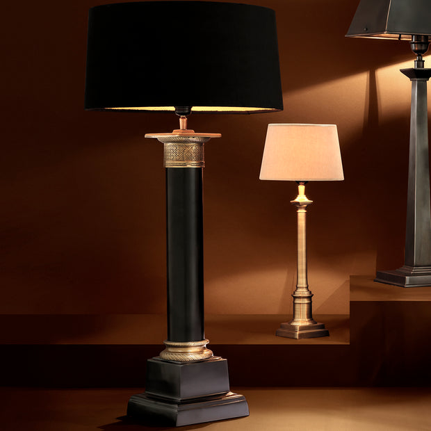 Eichholtz Table Lamp Monaco black/ant brass finish incl shad