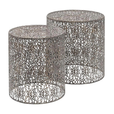 Libra Metal Fretwork Nest Tables Grey-Libra-Olivia's