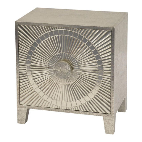 Libra Coco Silver Embossed Metal 2 Drawer Bedside Table