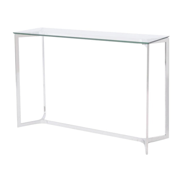 Libra Linton Stainless Steel And Glass Console Table-Libra-Olivia's