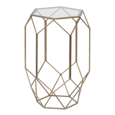 Libra Platonic Geometric Gold & Glass Side Table