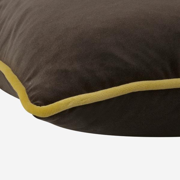 Andrew Martin Pelham Chocolate Cushion with Pear Piping-AndrewMartin-Olivia's
