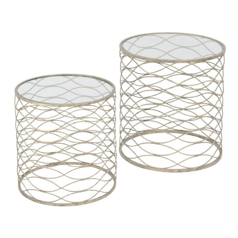 Libra Metal Waves Set of 2 Nesting Tables In Gold Finish