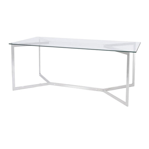 Libra Linton Stainless Steel And Glass Dining Table