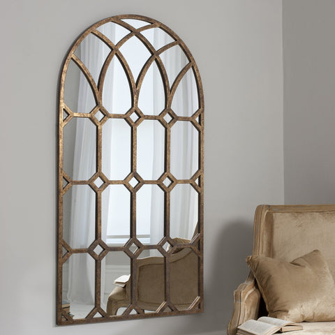 Gallery Khadra Gold Arched Window Pane Mirror