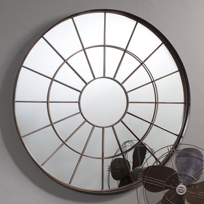 Gallery Galery Battersea Industrial Round Window Pane Mirror-GalleryDirect-Olivia's
