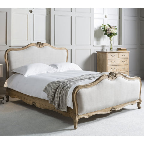 Gallery Chic King Size Linen Upholstered Bed in Weathered Wood