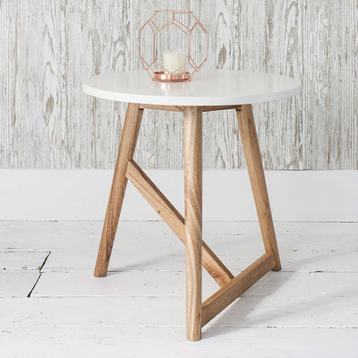 Hudson Living Hamar Round Side Table White