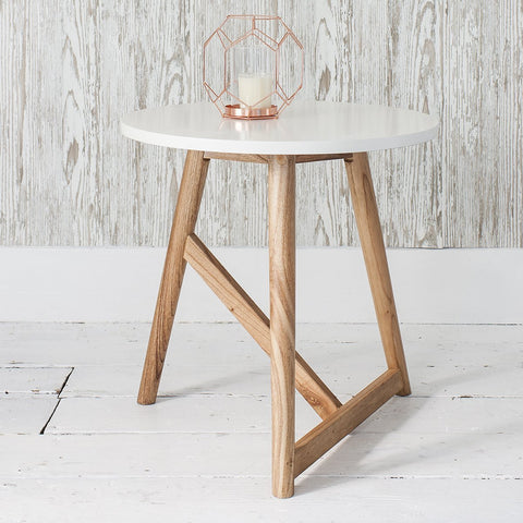 GALLERY HAMAR ROUND SIDE TABLE WHITE