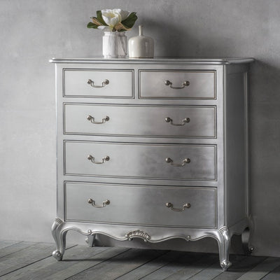 Gallery Chic 5 Drawer Chest in Silver-GalleryDirect-Olivia's