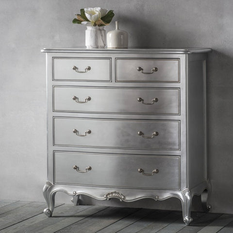 Gallery Chic 5 Drawer Chest in Silver