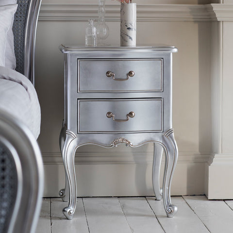 Gallery Chic Bedside Table in Silver