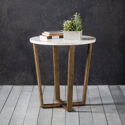 Hudson Living Cleo Round Marble Side Table in Gold