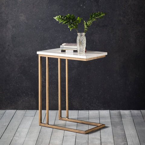 Gallery Cleo Marble Supper Side Table in Gold