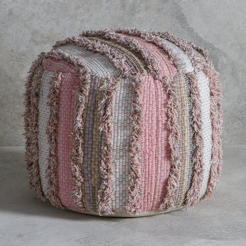Gallery Opal Textured Pouffe in Blush