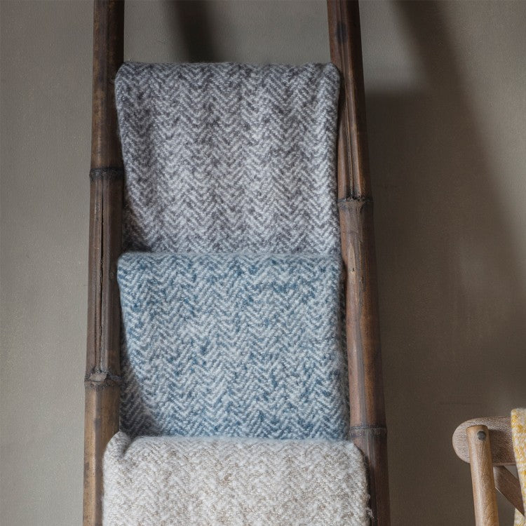 Gallery Direct Herringbone Faux Mohair Throw | Outlet / Ochre