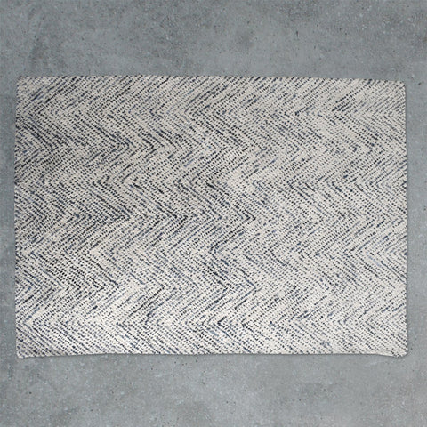 Gallery Inca Herringbone Textured Rug in Cream & Blue