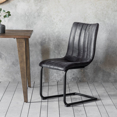 Gallery Set of 2 Edington Leather Grey Dining Chairs