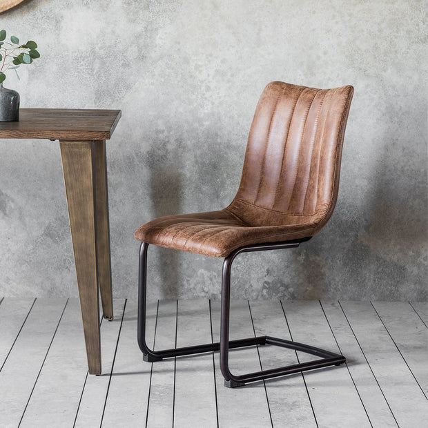 Gallery Set of 2 Edington Leather Brown Dining Chairs-GalleryDirect-Olivia's
