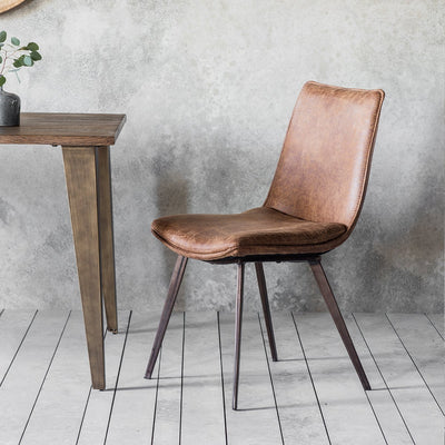 Gallery Set of 2 Hinks Leather Brown Dining Chairs