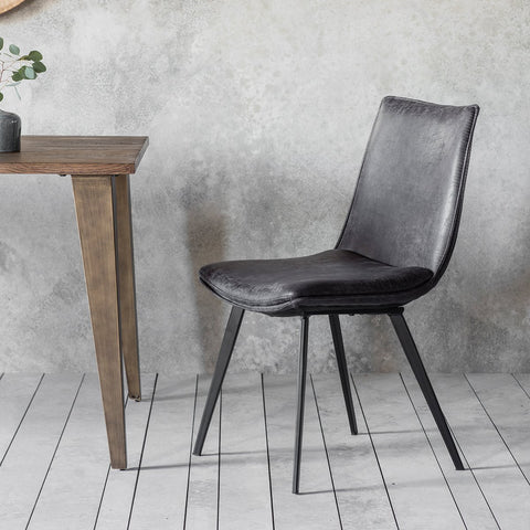 Gallery Set of 2 Hinks Leather Grey Dining Chairs