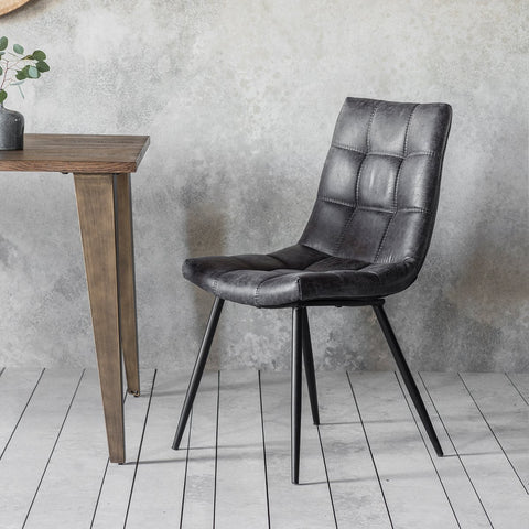 Gallery Set of 2 Darwin Grey Leather Dining Chairs