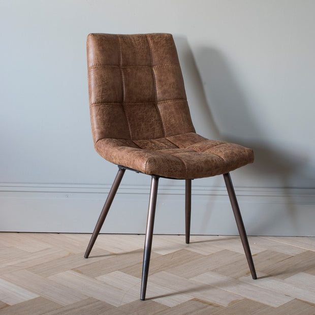 Gallery Set of 2 Darwin Brown Leather Dining Chairs-GalleryDirect-Olivia's