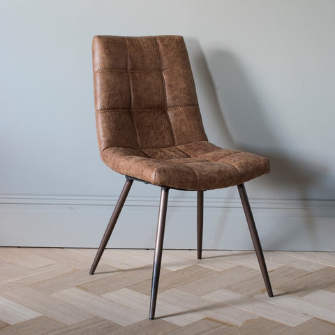 Gallery Set of 2 Darwin Brown Leather Dining Chairs