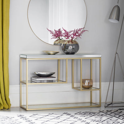Gallery Pippard Mirrored Top Console Table in Champagne