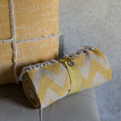 Cotton Chevron Throw Ochre