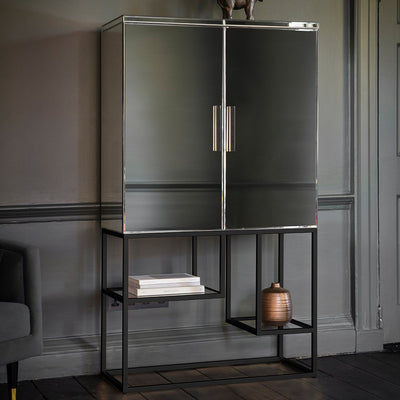 Gallery Pippard Mirrored Cocktail Cabinet Black-GalleryDirect-Olivia's