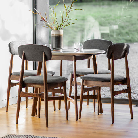Gallery Barcelona Marble Round Dining Table Set with 4 Dining Chairs