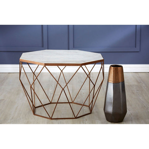 Shalimar Side Table In White Marble & Gold